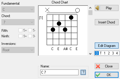 Tabledit manual chord editor clicking on either edit or new in the chord manager opens the dialog illustrated here if edit is used the editor will display the chord diagram ccuart Gallery