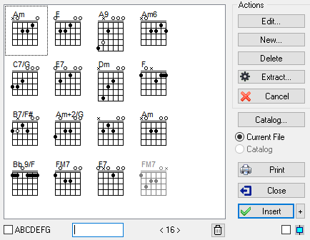 Tabledit Manual Chord Manager