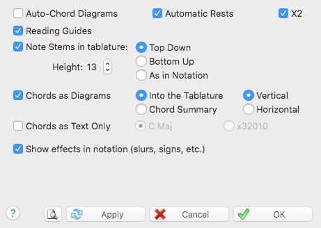 TablEdit Manual - Display options