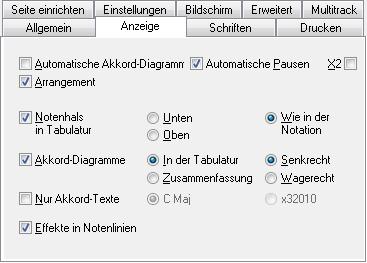 TablEdit Handbuch - Anzeige Optionen